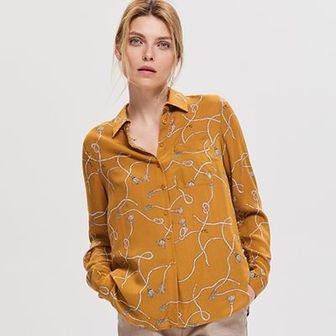 Reserved - Wzorzysta koszula z wiskozy - Żółty