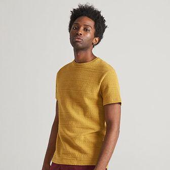 Reserved - Dzianinowy T-shirt - Żółty