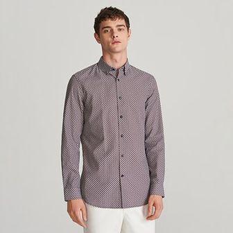 Reserved - Koszula slim fit z drobnym wzorem - Czerwony