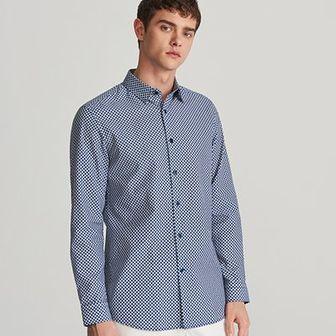 Reserved - Koszula slim fit z drobnym wzorem - Niebieski