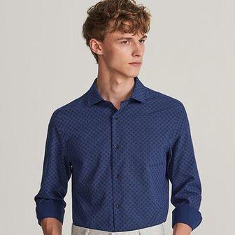 Reserved - Koszula slim fit z drobnym nadrukiem - Granatowy