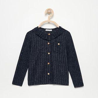 Reserved - Dzianinowa bluzka z kołnierzykiem - Granatowy