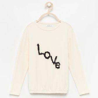 Reserved - Bluzka z aplikacją Love - Kremowy