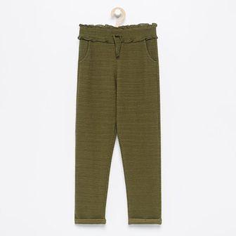 Reserved - Dzianinowe spodnie z wysokim stanem - Khaki