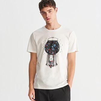 Reserved - T-shirt z nadrukiem - Kremowy