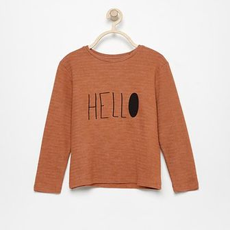 Reserved - Koszulka Hello - Brązowy