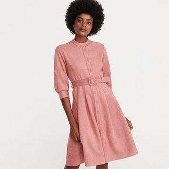 Reserved - Sukienka z imitacji zamszu - Różowy