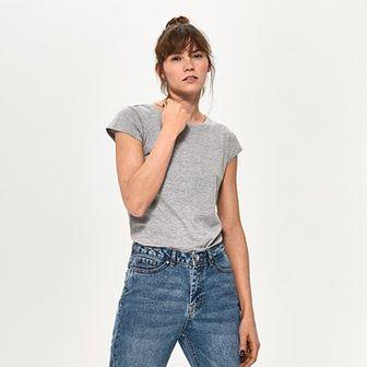 Sinsay - Gładki t-shirt z bawełny - Jasny szar