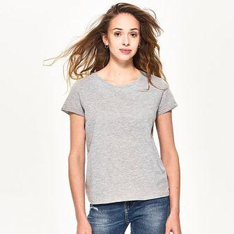 Sinsay - Gładki t-shirt - Jasny szar