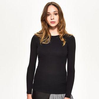 Sinsay - Dopasowana bluzka z długim rękawem - Czarny