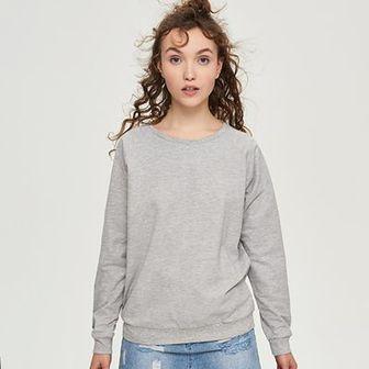 Sinsay - Gładka bluza - Jasny szar
