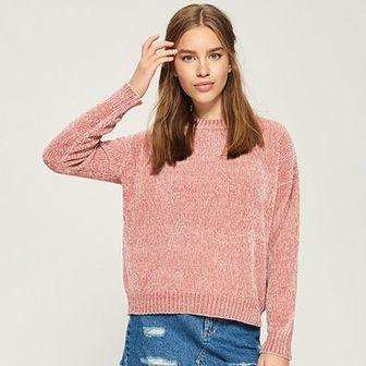 Sinsay - Szenilowy sweter - Różowy
