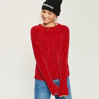 Sinsay - Szenilowy sweter - Czerwony