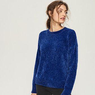 Sinsay - Szenilowy sweter - Niebieski