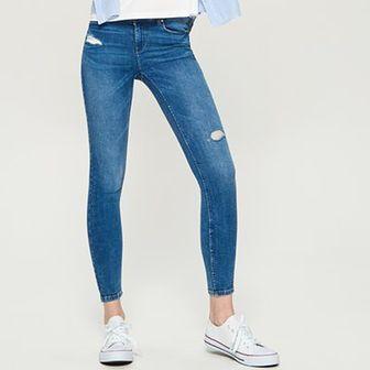 Sinsay - Jeansy super skinny - Niebieski