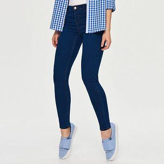 Sinsay - Jeansy skinny mid-waist - Niebieski