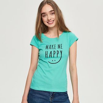 Sinsay - T-shirt z nadrukiem - Turkusowy