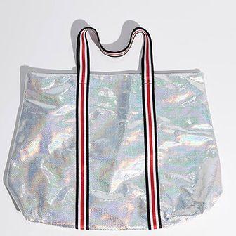 Sinsay - Holograficzna torba shopper - Jasny szar