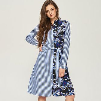 Sinsay - Sukienka z łączonych materiałów - Wielobarwn
