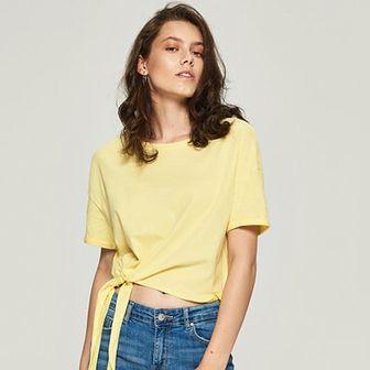 Sinsay - T-shirt z wiązaniem - Żółty