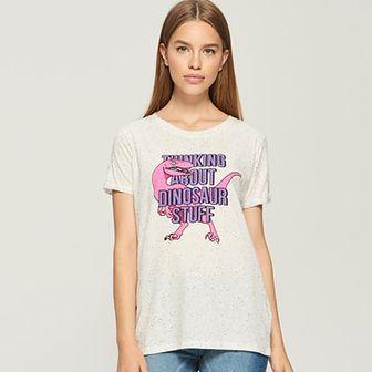 Sinsay - T-shirt z dinozaurem - Jasny szar
