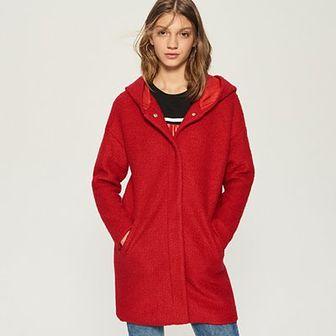 Sinsay - Płaszcz z wełną - Czerwony