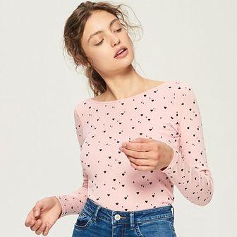 Sinsay - Bluzka z wzorem all over - Różowy