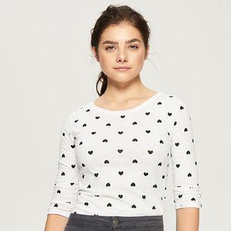 Sinsay - Bawełniana bluzka z długimi rękawami - Biały