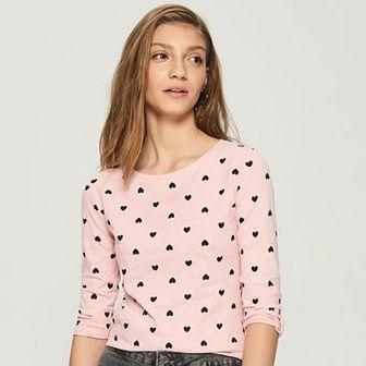 Sinsay - Bawełniana bluzka z długimi rękawami - Różowy