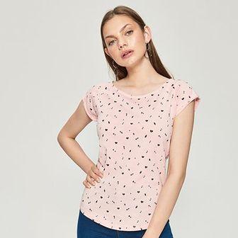 Sinsay - Koszulka z nadrukiem all over - Różowy