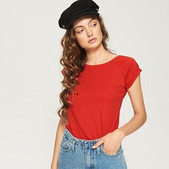 Sinsay - T-shirt basic - Czerwony