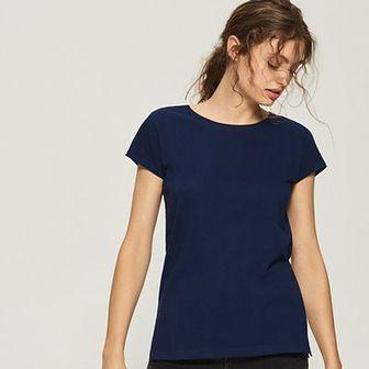 Sinsay - T-shirt basic - Granatowy