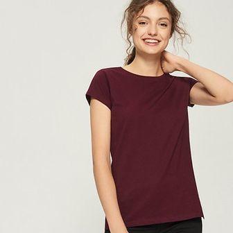 Sinsay - T-shirt basic - Bordowy