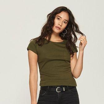 Sinsay - Bawełniany t-shirt basic - Khaki