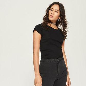 Sinsay - Bawełniany t-shirt basic - Czarny