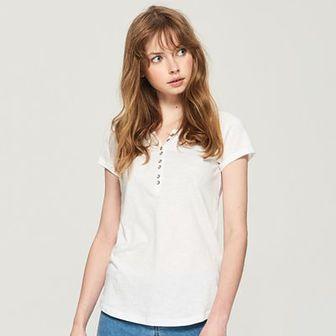 Sinsay - T-shirt basic - Biały
