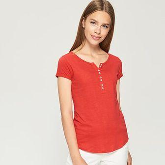 Sinsay - T-shirt basic - Pomarańczo