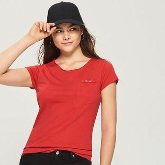 Sinsay - T-shirt z kieszenią - Pomarańczo