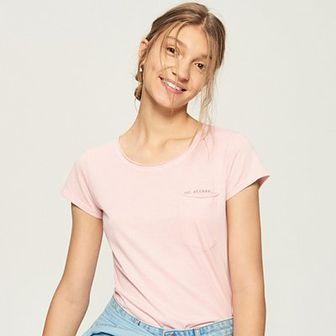 Sinsay - T-shirt z kieszenią - Różowy