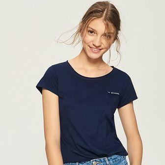 Sinsay - T-shirt z kieszenią - Granatowy