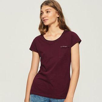 Sinsay - T-shirt z kieszenią - Bordowy