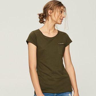 Sinsay - T-shirt z kieszenią - Khaki