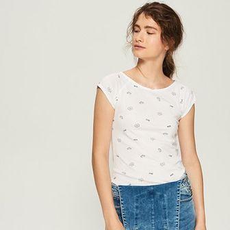 Sinsay - T-shirt z nadrukiem all over - Biały