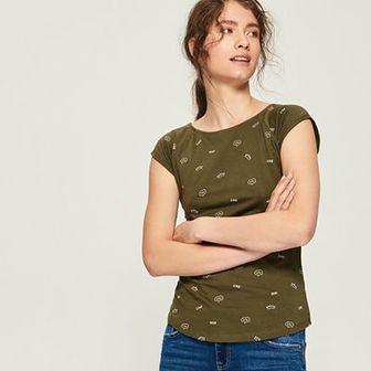 Sinsay - T-shirt z nadrukiem all over - Khaki