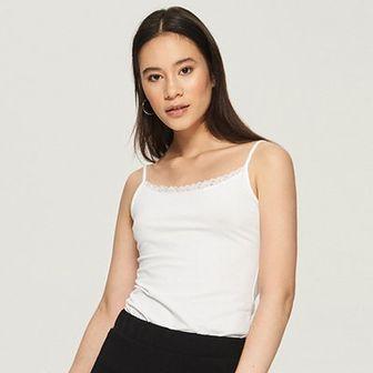 Sinsay - Top basic na ramiączkach - Biały