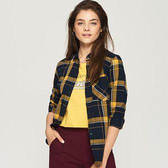 Sinsay - Koszula w kratę - Żółty