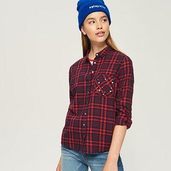 Sinsay - Koszula z aplikacją na kieszeni - Czerwony