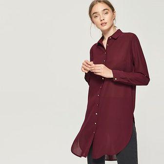 Sinsay - Długa koszula - Bordowy