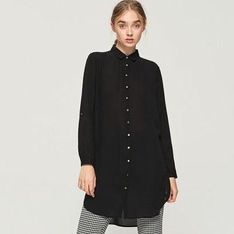 Sinsay - Długa koszula - Czarny