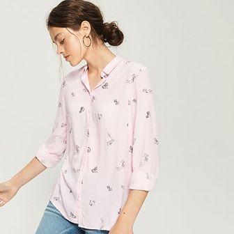 Sinsay - Wzorzysta koszula - Różowy